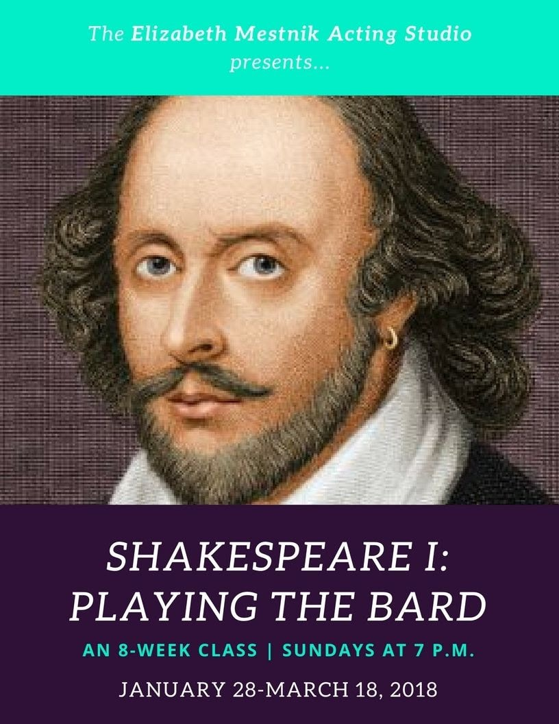 shakespeare: playing the bard la acting class banner